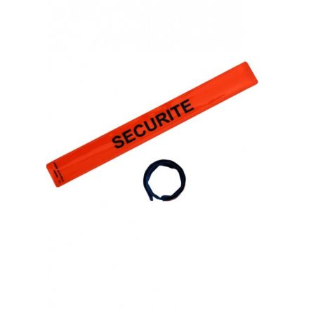 BRASSARD SECURITE ORANGE AUTO-ENROULANT 400 X 46 MM