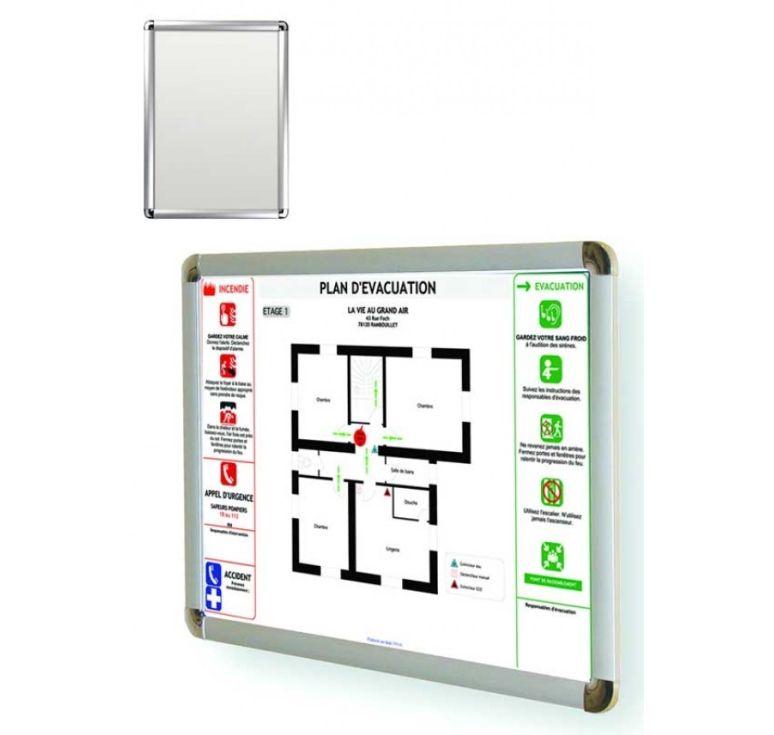 cadre consigne incendie et plan evacuation format a3 alu. Black Bedroom Furniture Sets. Home Design Ideas