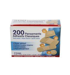 PANSEMENTS ADHESIFS BOITE DE 200 ASSORTIS