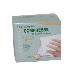 Compresses Gaz Stériles 7,5 X 7,5 cm tissées sachet individuel (Qté 50)